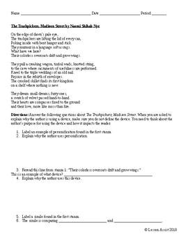 The Trashpickers, Madison Street by Naomi Shihab Rye: Poem Analysis Questions