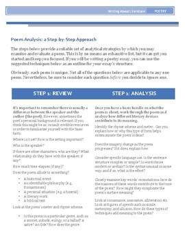 Poem Analysis Worksheet