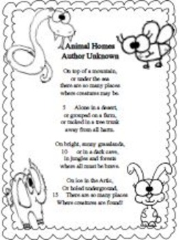 """Poem """"Animal Homes"""" (ENGLISH) with Various Different Activities"""