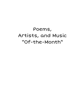 Poem, Artist, and Music of the Month Program