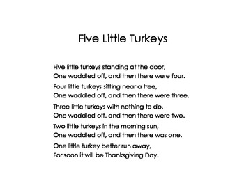 Poem Building for Word Work~Thanksgiving Five Little Turkeys Poem (Daily 5)