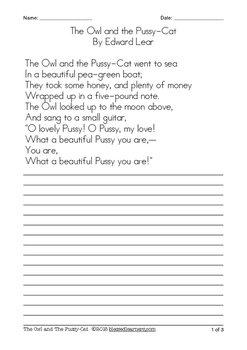 Poem Collection Copywork - Manuscript Handwriting