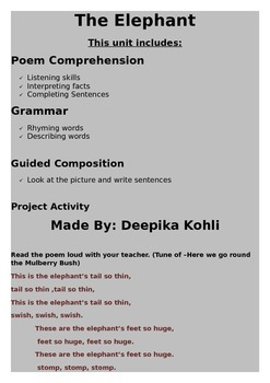 Poem Comprehension -The Elephant