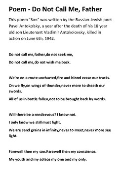 Poem Do Not Call Me, Father  - World War Two Russia Handout