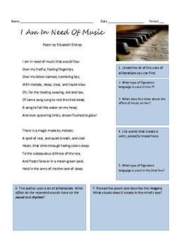 "Poetry Analysis: ""I Am In Need Of Music"" poem by Elizabeth Bishop"