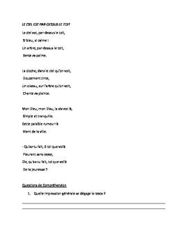 Poem 'Le Ciel est par dessus le toit' and Questions