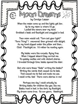 Poem Moon Dreams by Carolyn Lesser with Theme Writing Task and Paper