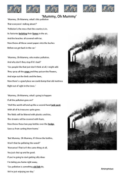 Reading Strategies -Poem - Mummy, Oh Mummy - Pollution