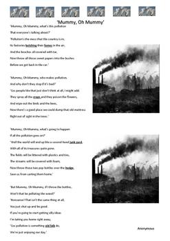 Reading Strategies -Poem - Mummy, Oh Mummy - Pollution