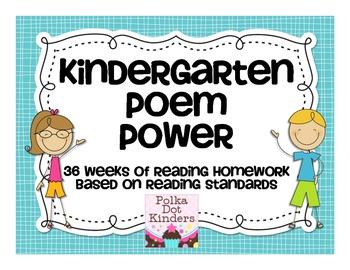 Poem Power-36 Weeks of Homework Based on Kindergarten Learning Tagets
