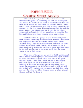 Poem Puzzle - Creative Group Activity