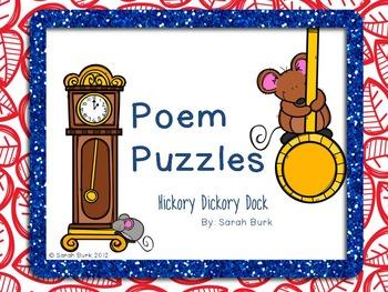 Poem Puzzles - Hickory Dickory Dock - Nursery Rhyme