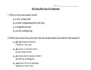 Poem Questions--My Dog Has Got No Manners by Bruce Lansky
