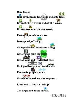 """Poem: """"Rain Drops"""" by E.B. with pictures"""