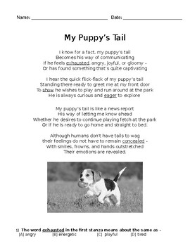 Poem Reading Passage - My Puppy's Tail