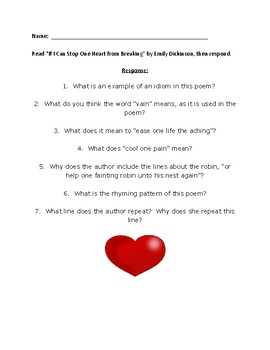 """Poem Response Questions,""""If I Can Stop One Heart from Breaking"""", Emily Dickinson"""