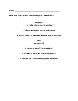 Poem Response Questions To High Flight By John Gillespie Magee Jr