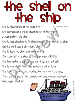 Poem/Short Story with -sh (The Shell on the Ship) {Simplified Teaching}