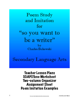 """Poem Analysis and Imitation - """"So You Want to Be a/an . . . """"; Secondary ELA"""