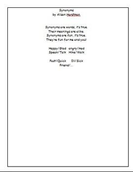 Poem:  Synonyms