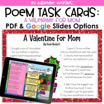 Poem Test Prep Task Cards: A Valentine for Mom
