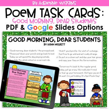 Poem Test Prep Task Cards: Good Morning, Dear Students
