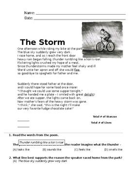 Poem - The Storm (FREE Reading Passage)