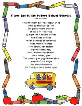 Poem-T'was the Night Before School Started