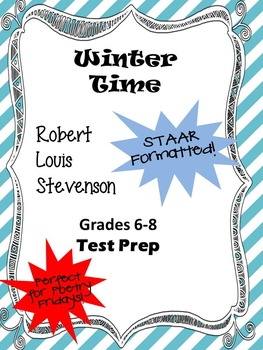 Poem Robert Louis Stevenson's Winter Time STAAR-formatted questions