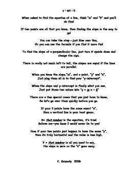 Poem: Y = mx + b