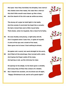 Poem and Quiz- A Visit from St. Nicholas, for 2nd and 3rd grade