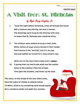 Poem and Quiz- A Visit from St. Nicholas, for 4th and 5th grade