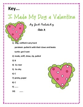 Valentine's Day: Poem and Quiz- I Made My Dog a Valentine