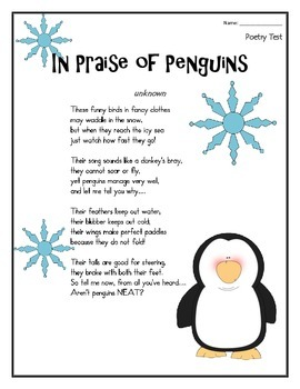 "PENGUINS- Poem and Quiz- ""In Praise of Penguins"""