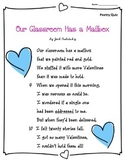 Valentines Day: Poem and Quiz- Our Classroom Has a Mailbox