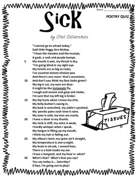 "Poem and Quiz- ""Sick"""