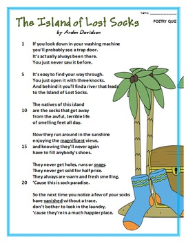 Poem and Quiz- The Island of Lost Socks