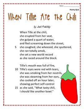 Poem And Quiz When Tillie Ate The Chili By Libby Black TpT