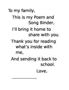 Poem and Song Binder Family Poem