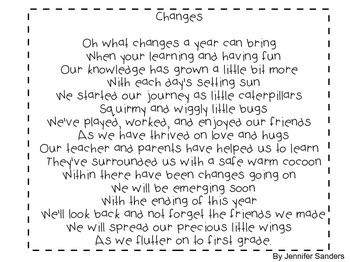 Poem for End-of-Year Kinders and 1st graders