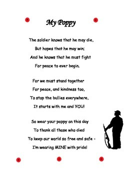 Poem for Veteran's Day, Remembrance Day, Memorial Day