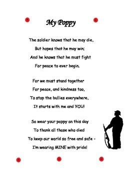 Poem for Veteran's Day, Remembrance Day, Memorial Day