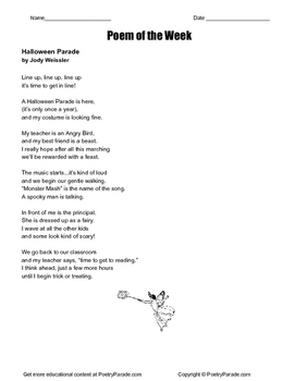 Poem of the Week Halloween Parade by Jody Weissler with questions