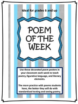 Poem of the Week - 24 poems for grades 6 and up