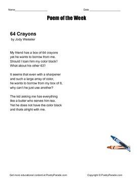Poem of the Week 64 Crayons by Jody Weissler