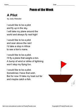 Poem of the Week    A Pilot by Jody Weissler  with Questions