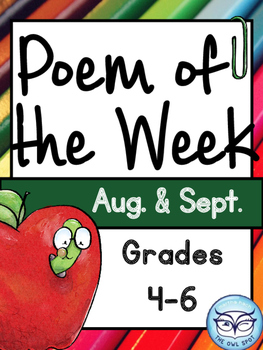 Poem of the Week: Aug. and Sept. - Poem Comprehension for Intermediate Grades