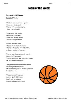 Poem of the Week Basketball Woes by Jody Weissler. Includes questions