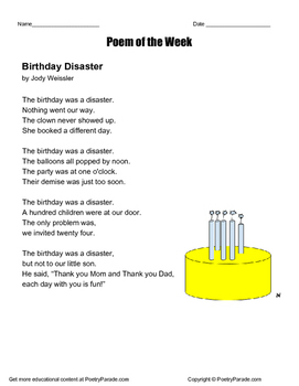 "Poem of the Week Called ""Birthday Disaster"" by Jody Weissler"