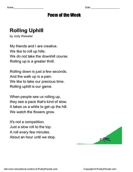 Poem of the Week Called Rolling Uphill by Jody Weissler